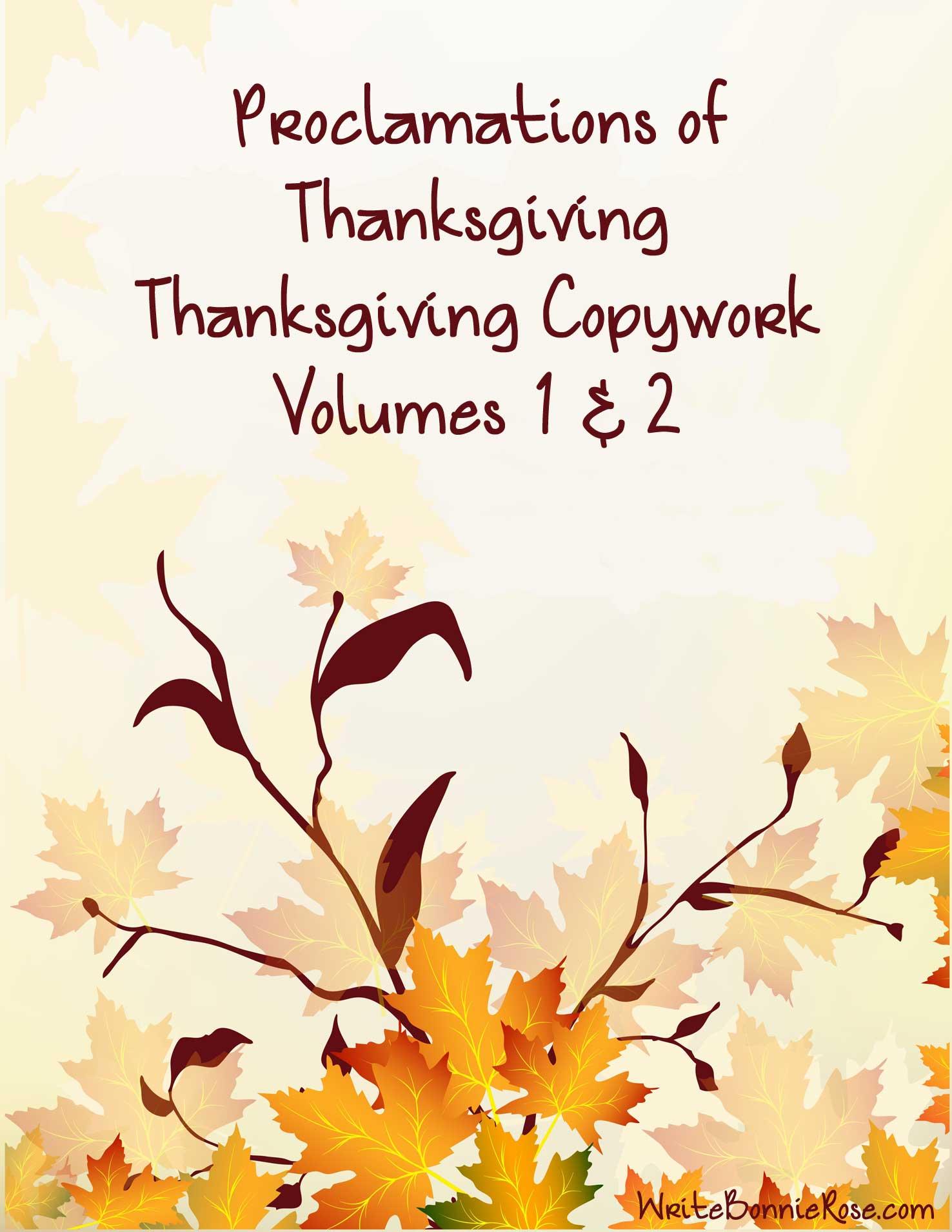 FREE Thanksgiving Copywork (2 Volumes)