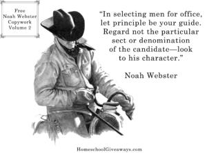 FREE Noah Webster Copywork