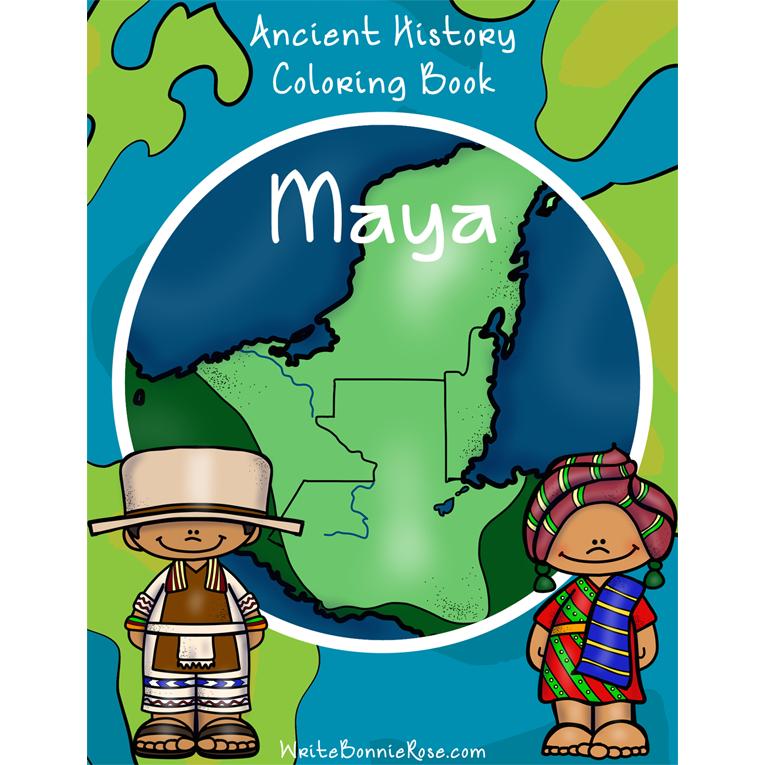 Ancient History Coloring Book: Maya (e-book)