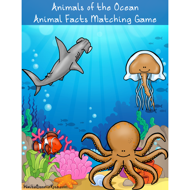 Animals of the Ocean: Animal Facts Matching Game (e-book)