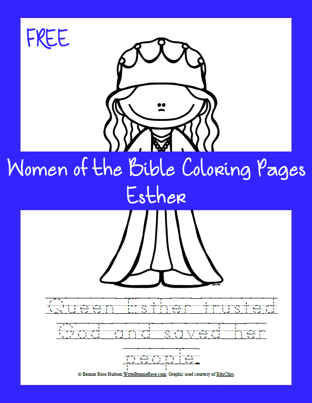 Free Women Of The Bible Coloring Page Esther