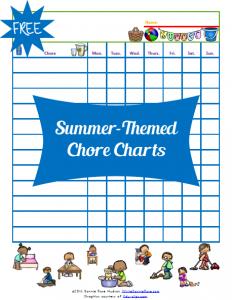 Summer-Themed Chore Charts