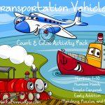 Transportation Vehicles Count & Color Activity Pack