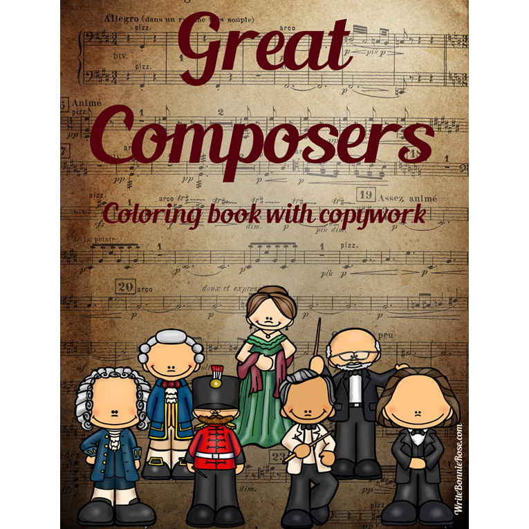 Great Composers Coloring Book with Copywork (e-book)