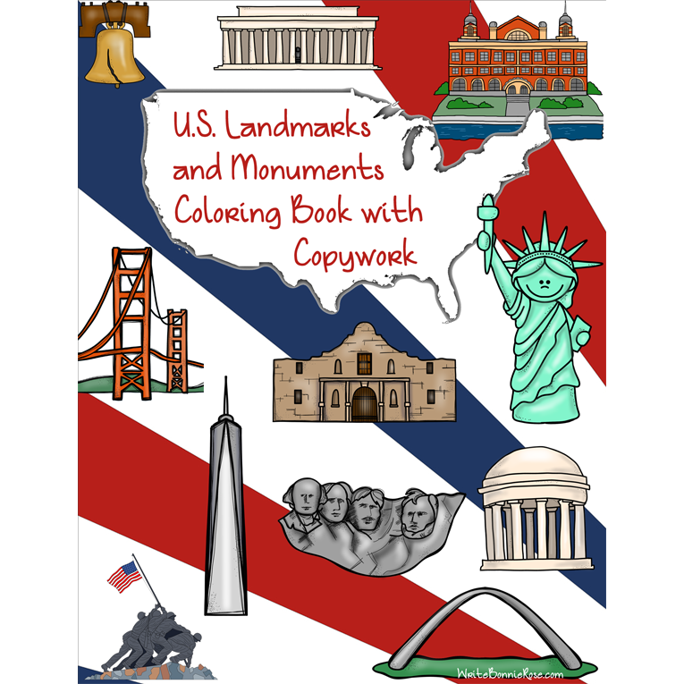 U.S. Landmarks and Monuments Coloring Book (e-book)