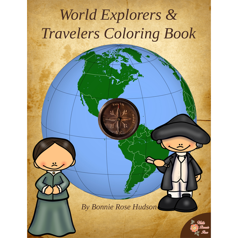 World Explorers and Travelers Coloring Book (e-book)