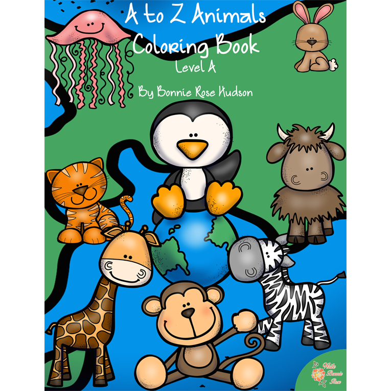 A to Z Animals Coloring Book-Level A (e-book)