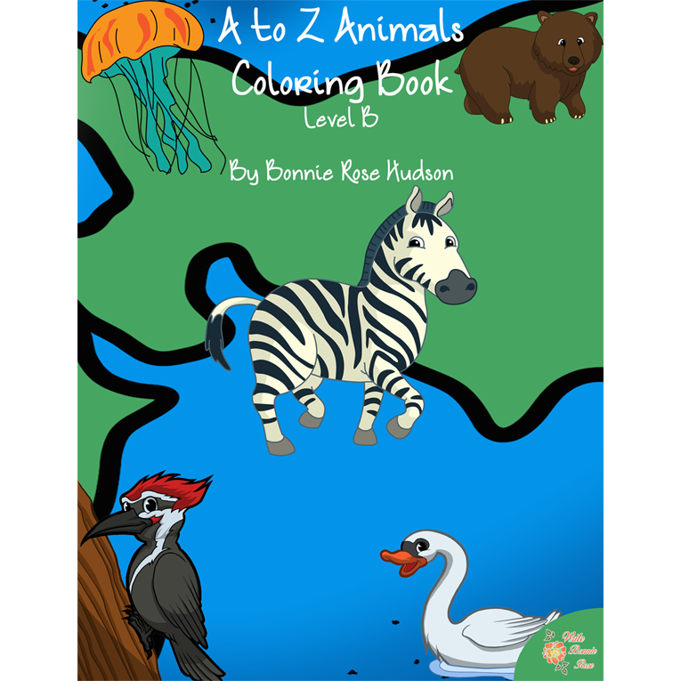 A to Z Animals Coloring Book-Level B (e-book)