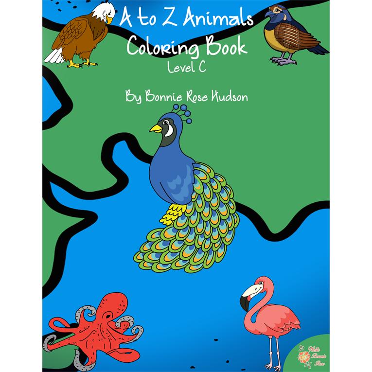 A to Z Animals Coloring Book-Level C (e-book)