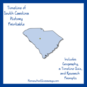 Free South Carolina State History Printable