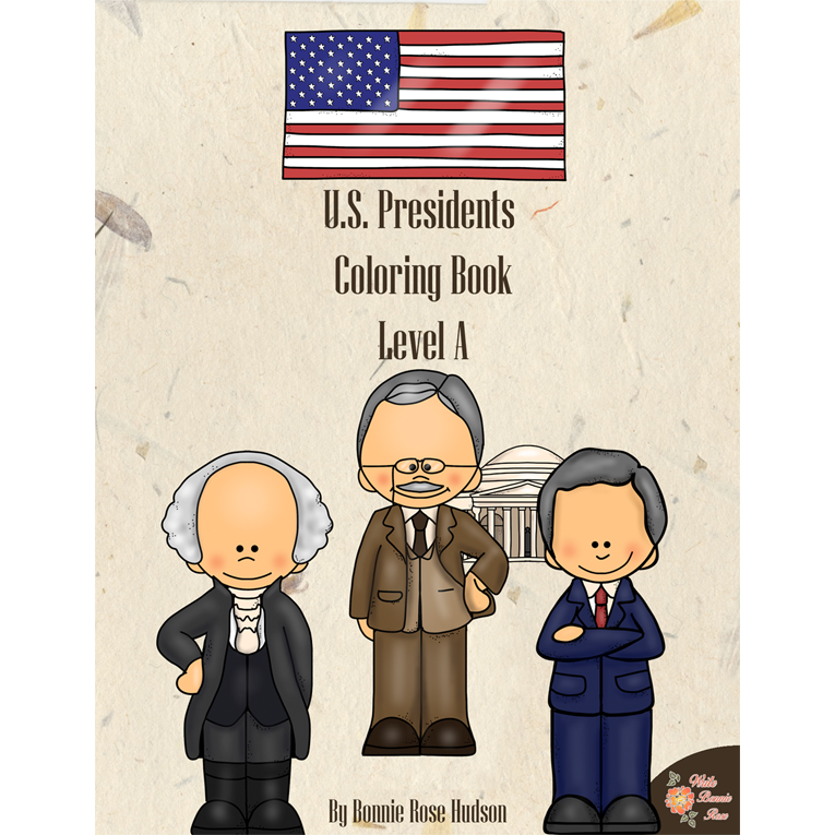 U.S. Presidents Coloring Book-Level A (e-book)
