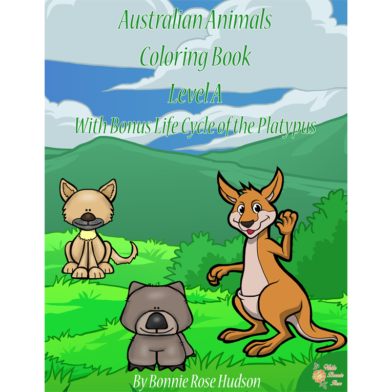Australian Animals Coloring Book with Bonus Life Cycle of the Platypus-Level A (e-book)