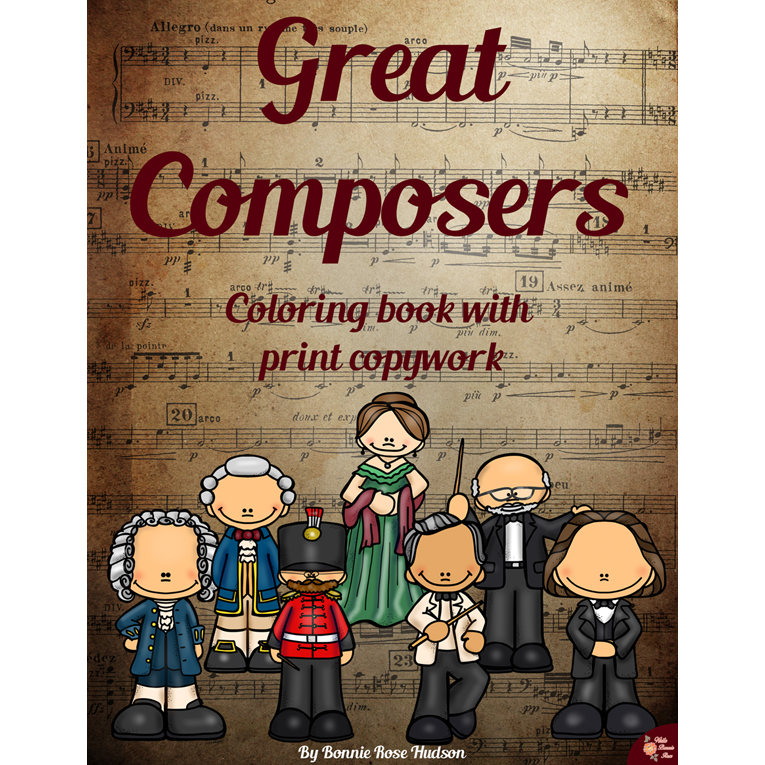 Great Composers Coloring Book with Print Copywork (e-book)