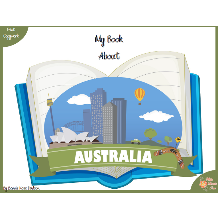 My Book About Australia with Print Copywork (e-book)