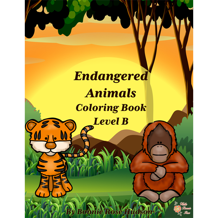 Endangered Animals Coloring Book-Level B (e-book)