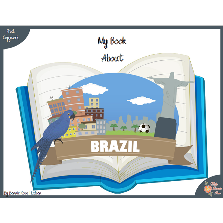My Book About Brazil with Print Copywork (e-book)