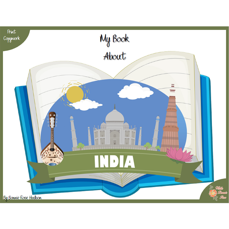 My Book About India with Print Copywork (e-book)