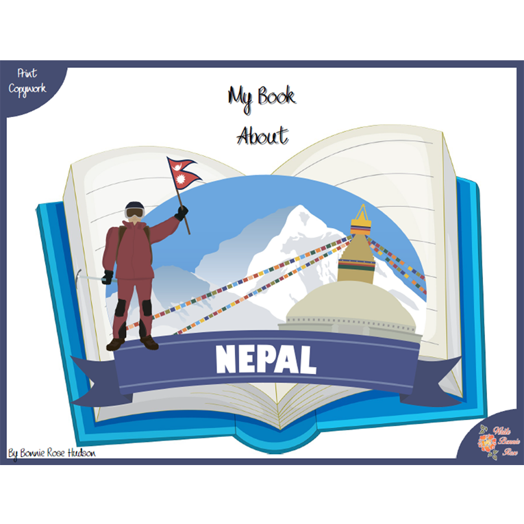 My Book About Nepal with Print Copywork (e-book)