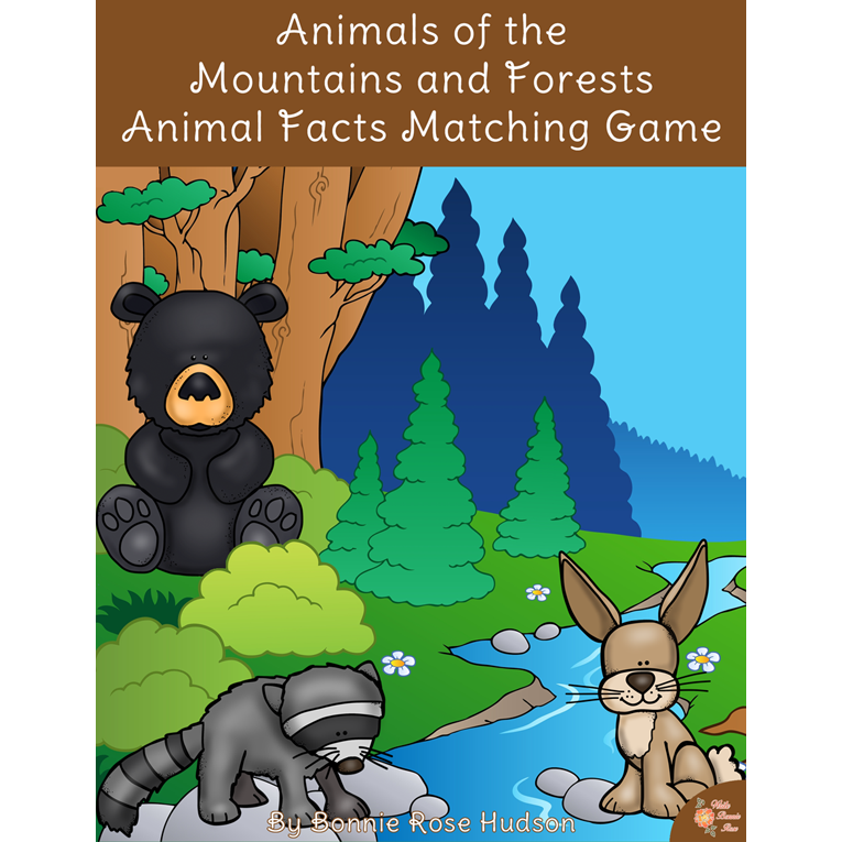 Animals of the Mountains and Forests: Animal Facts Matching Game (e-book)