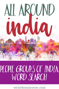 People Groups of India Word Search - All Around India Notebooking