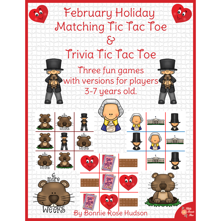 February Holiday Matching Tic Tac Toe and Trivia Tic Tac Toe (e-book)