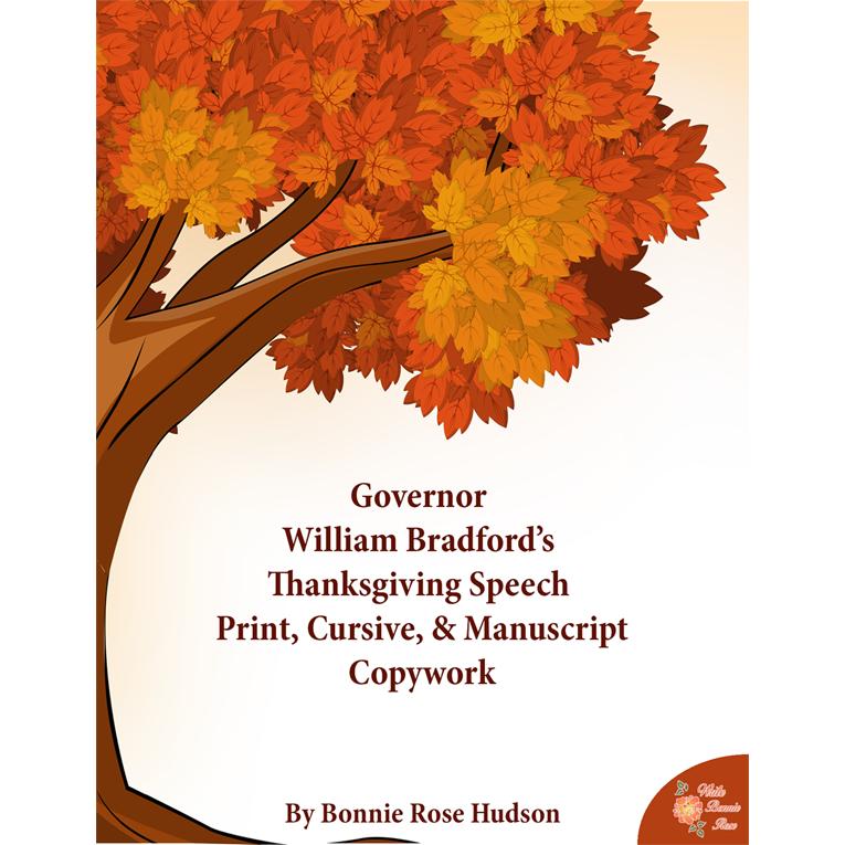 Governor William Bradford's Thanksgiving Speech-Copywork (e-book)