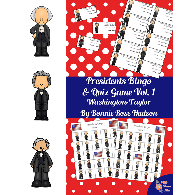 U.S. Presidents Bingo and Quiz Game, Volume 1 (e-book)