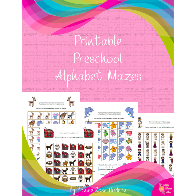 Printable Preschool Alphabet Mazes (e-book)