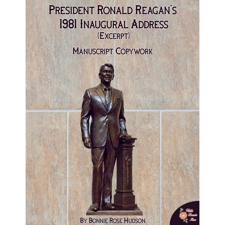 President Ronald Reagan's 1981 Inaugural Address (Excerpt)-Manuscript Copywork (e-book)