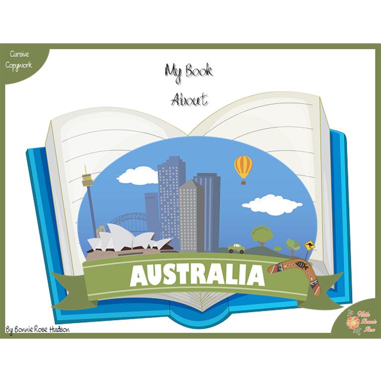 My Book About Australia with Cursive Copywork (e-book)