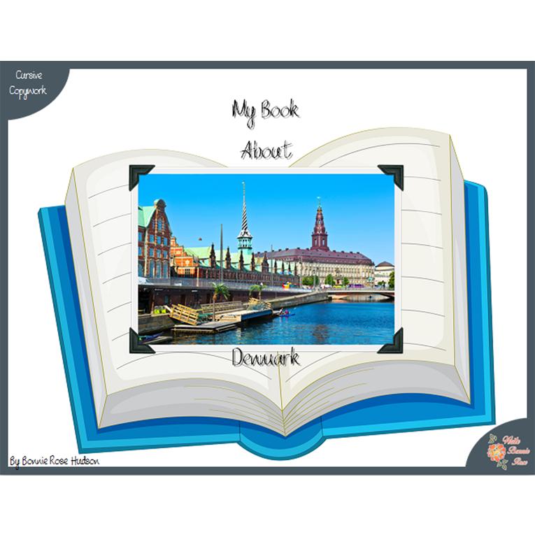 My Book About Denmark with Cursive Copywork (e-book)