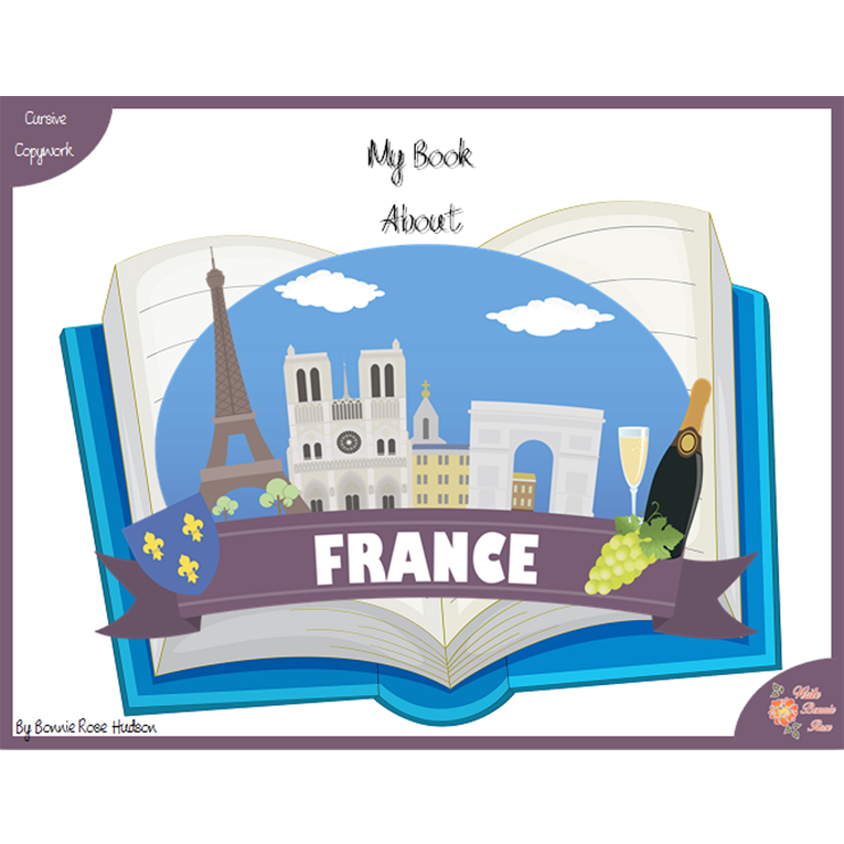 My Book About France with Cursive Copywork (e-book)
