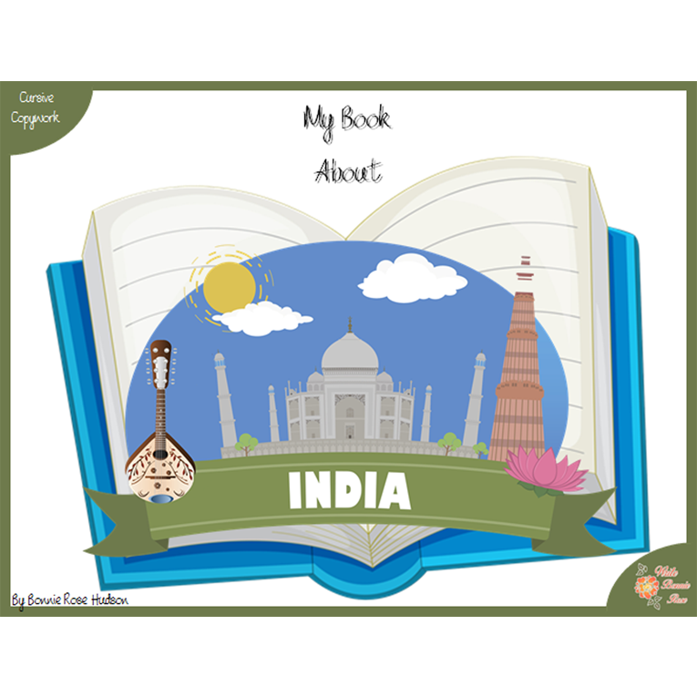 My Book About India with Cursive Copywork (e-book)