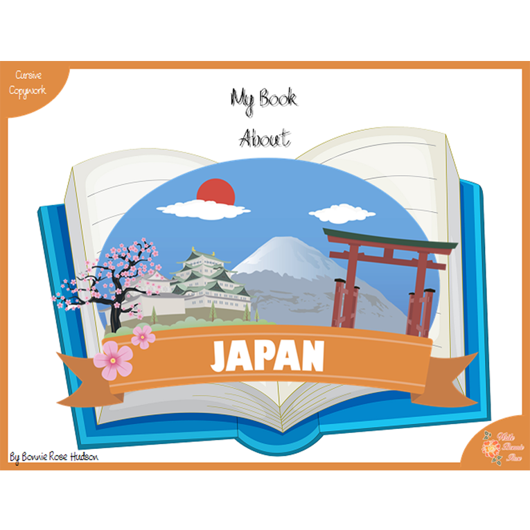 My Book About Japan with Cursive Copywork (e-book)
