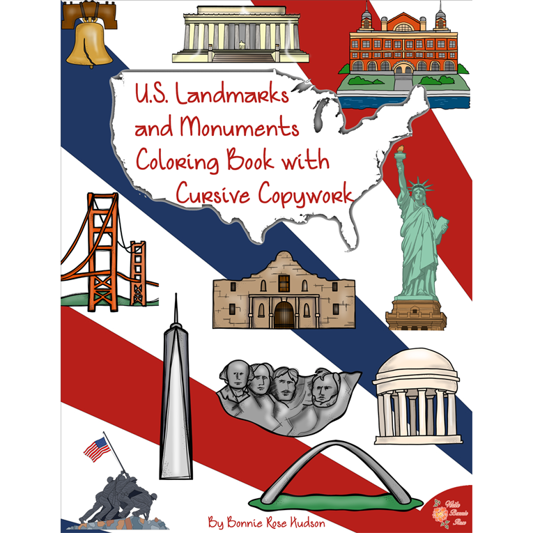 U.S. Landmarks and Monuments Coloring Book with Cursive Copywork (e-book)