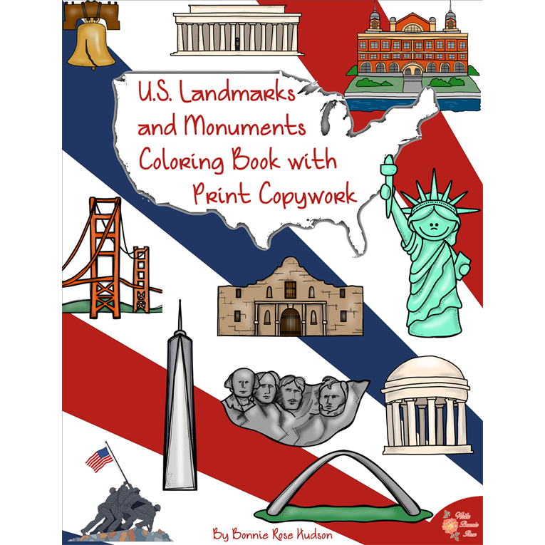 U.S. Landmarks and Monuments Coloring Book with Print Copywork (e-book)
