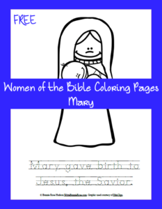 Free Women of the Bible Coloring Page-Mary
