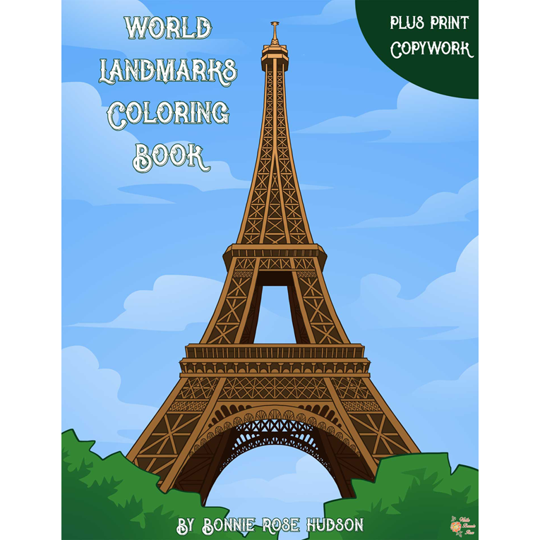 World Landmarks Coloring Book with Print Copywork (e-book)
