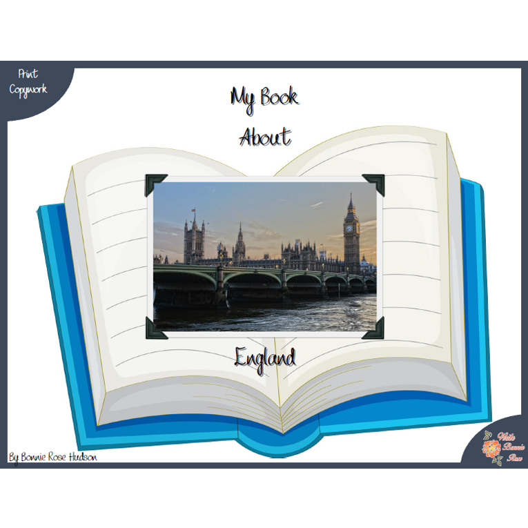 My Book About England with Print Copywork (e-book)