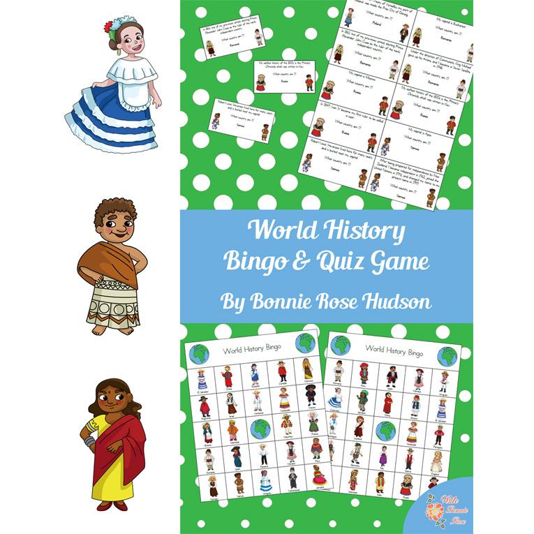 World History Bingo and Quiz Game (e-book)