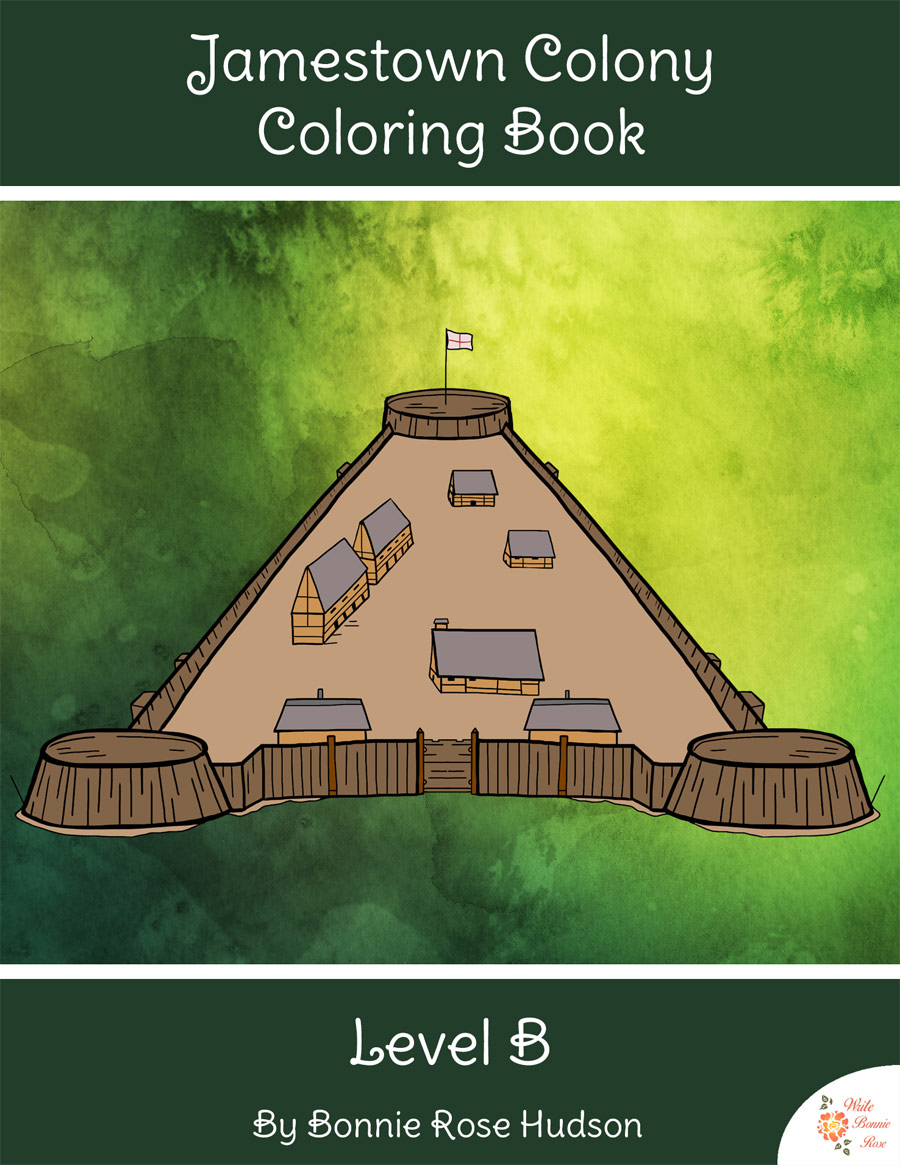 Jamestown colony coloring book level b for Jamestown colony coloring pages
