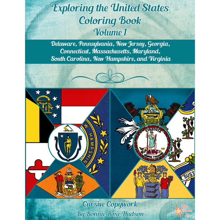 Exploring the United States Coloring Book with Cursive Copywork, Volume 1 (e-book)