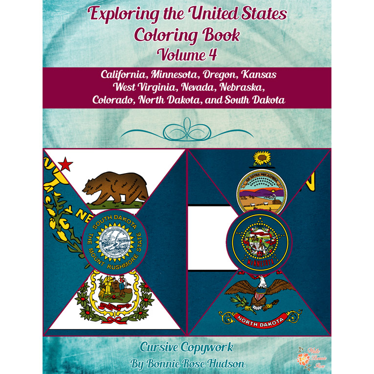 Exploring the United States Coloring Book with Cursive Copywork, Volume 4 (e-book)
