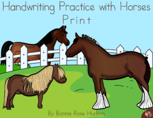 Handwriting Practice with Horses - Print