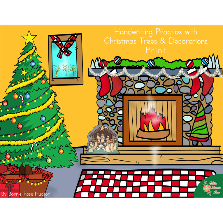 Handwriting Practice with Christmas Trees and Decorations: Print Style (e-book)