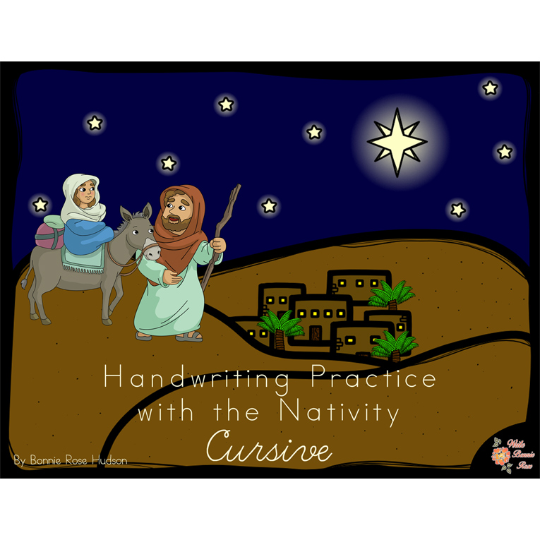 Handwriting Practice with the Nativity: Cursive Style (e-book)