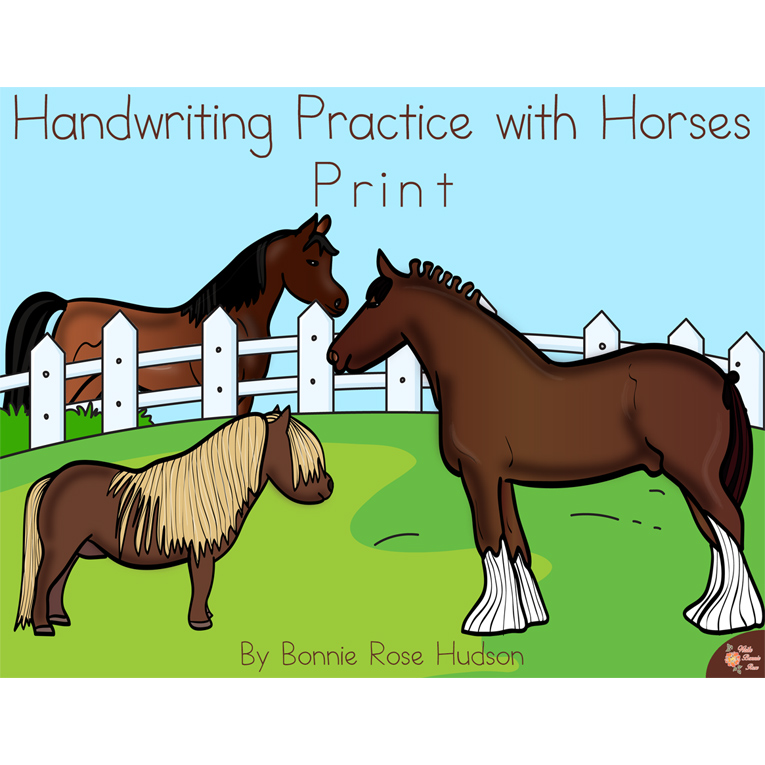 Handwriting Practice with Horses: Print Style (e-book)