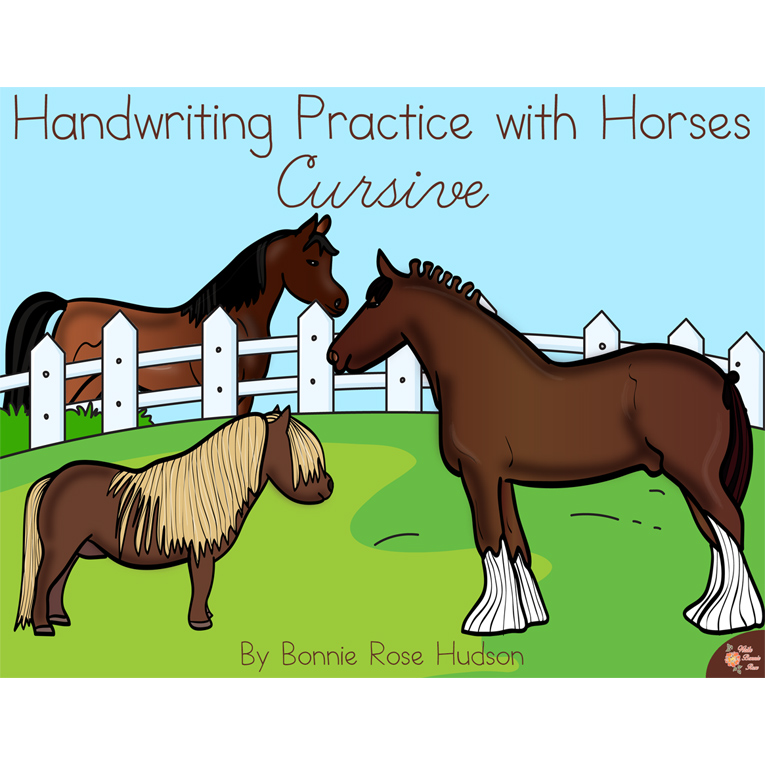 Handwriting Practice with Horses: Cursive Style (e-book)