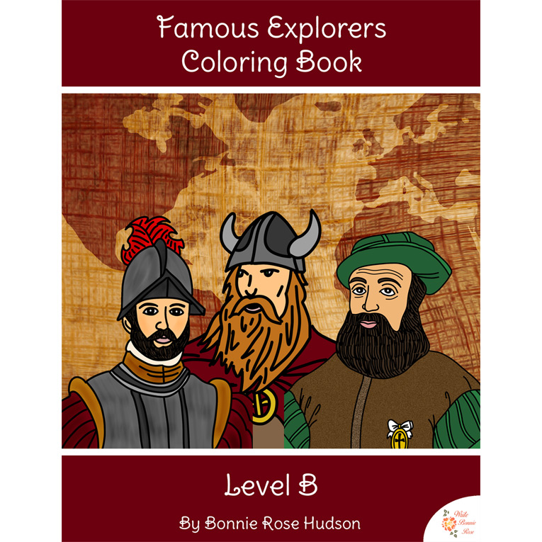 Famous Explorers Coloring Book-Level B (e-book)