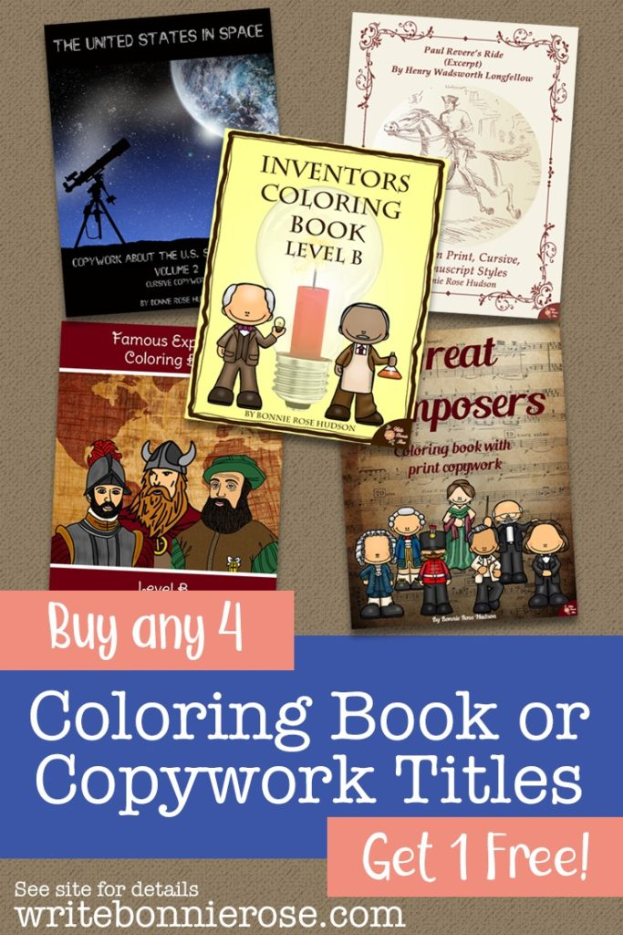 Save on Coloring Book or Copywork Titles